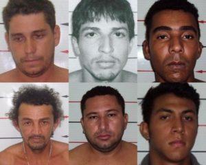 Sete presos libertados. em destaque, seis deles, incluindo Paulo Hugo Martins (o terceiro da segunda fileira)