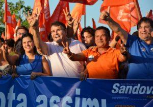 A primeira-dama Marcela Cardoso,Eduardo, Auri e César Hallum: apoio no Bico