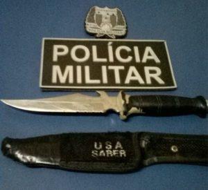 faca utilizada na tentativa