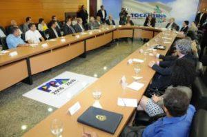 O evento foi durante toda a tarde desta segunda-feira na sala de reuniões do Palácio Araguaia.