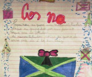 Foto 1 - Carta da menina de 5 anos, que pede material esco lar para seu primo estudar. (Crédito Denarc)