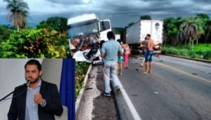 O carro ficou destruído após o acidente