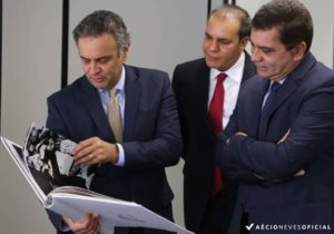 Aécio, Ataídes e Amastha durante encontro em Brasília: aliança importante com PSB