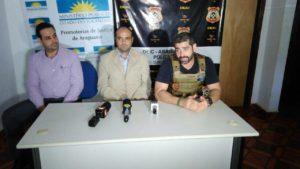 Promotores de Justiça Leonardo Olhê Blanck e Benedicto Guedes,além do Delegado Anchieta