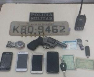 Objetos recuperados com assaltantes presos  em Imperatriz-MA