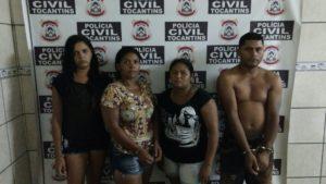 Rayra, Cida, Ana Claudia e Artenys presos pela Polícia Civil por tráfico de drogas/ Foto: Ascom SSP