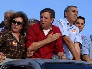 José Gomes (de vermelho) morreu baleado em Itumbiara, Goiás (Foto: Reprodução/TV Anhanguera)