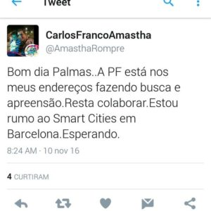 Postagem do prefeito Amastha em uma rede social